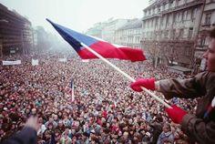Thousands of students in Prague protest the communist regime in November 1989, during the Velvet Revolution, leading to the end of 40 years of communist rule over Czechoslovakia.