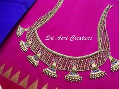 No photo description available. Silk Saree Blouse Designs, Fancy Blouse Designs, Bridal Blouse Designs, Simple Embroidery Designs, Embroidery Works, Embroidery Patterns, Hand Embroidery, Jhumka Designs, Stylish Blouse Design