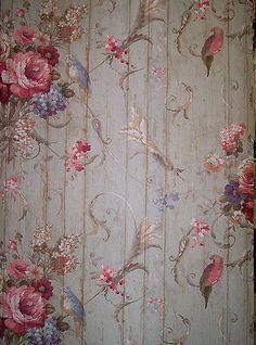 GORGEOUS COTTAGE CHIC FLORAL AND BIRD WALLPAPER # 326