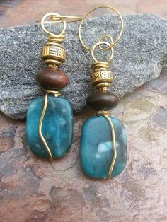 Turquoise and Chocolate earrings Ebony by ThePurpleLilyDesigns