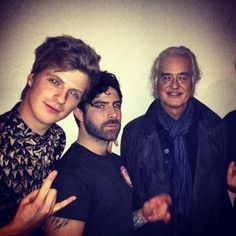 Foals with Jimmy Page from Led Zeppelin at the ECHO Awards in Berlin