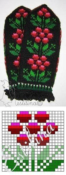 Knitted Mittens Pattern, Fair Isle Knitting Patterns, Crochet Mittens, Knitting Charts, Knitting Stitches, Knitting Socks, Knitting Designs, Knitting Projects, Hand Knitting