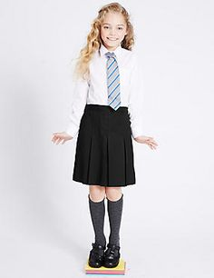 Shop this Girls' Slim Fit Permanent Pleats Skirt at Marks & Spencer. Pleated School Skirt, Pleated Skirt, School Fashion, Girl Fashion, Fashion Clothes, School Uniform Girls, School Uniforms, School Wear, School Outfits