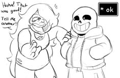 More crossover art since people have been asking for it! Joking Around (SU and UT crossover doodle) Undertale Memes, Undertale Cute, Undertale Fanart, Undertale Comic, Best Crossover, Fandom Crossover, Steven Universe Crossover, Cartoon Crossovers, Universe Art