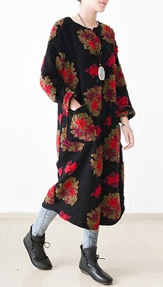 2017 winter floral woolen dresses long woolen maxi dress casual style in red top quality
