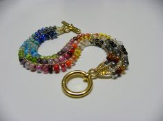 Hand Bracelet Crochet Knitting 3 lines of Glass by MeravBeads