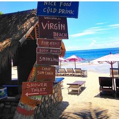 Welcome to Virgin Beach only a 10 minute boat trip from Candidasa where the sand is white the coconuts are fresh and you can get a $4 foot massage! #virginbeach.  Located Sengkidu Karangasem Kec. Karangasem Bali #indonesia.  Photo by @doyansilalahi #bali #theblibible #mybalibible #virginbeach #hiddengem #travel #snorkling #cheapsunchair #footmassage  by thebalibible