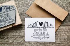 This listing is for an approximately 3x 3.75 save the date rubber stamp customized with your wedding details. Ideal for indie brides wanting to
