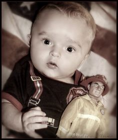 Our newest little firefighter baby!4 months old