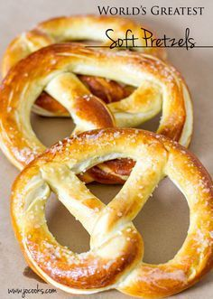 World's Greatest Soft Pretzels - huge pretzels that are soft, buttery and salty, you know the ones I'm talking about.