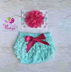Baby Lace Bloomer Set Newborn Headband and by Pinkpaisleybowtique, $19.95