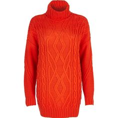 Red roll neck cable knit tunic - knitwear - sale - women