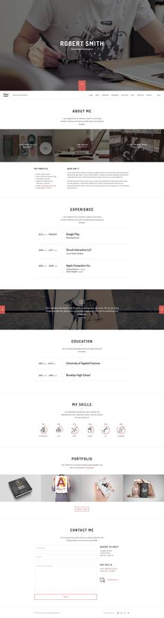Buy Robert Smith - Responsive Resume / CV WordPress Theme by NRGThemes on ThemeForest. Robert Smith is a responsive resume and personal portfolio WordPress theme that is perfect to display your resume an. Robert Smith, Responsive Layout, Admin Panel, Wordpress Theme Design, Grid System, Personal Portfolio, Resume Cv, Web Design, Education