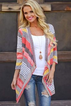 Take a look at the best jeans casual dress code in the photos below and get ideas for your work outfits! Don't Count Me Out Cardigan – Coral from Closet Candy Boutique Look Fashion, Fashion Outfits, Womens Fashion, Fashion Trends, Fashion Coat, Trendy Fashion, Fall Fashion, Coral Fashion, Feminine Fashion