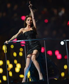 Victoria Beckham performing at the Closing Ceremony of the Olympics
