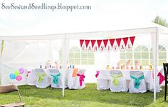 love the different color sashes on the chairs..perfect for showers, etc.