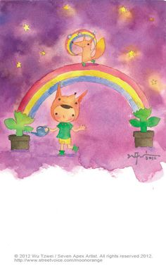 星星幾月開系列-JUNE 星星在墜落前 發出求救的訊號 微弱的光暈,淡淡地。 用彩虹編織成網子 將星星一顆一顆的捕捉下來。