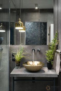 Most Popular Small Bathroom Remodel Ideas on a Budget in 2018 This beautiful look was created with cool colors, and a change of layout. Modern Bathroom, Small Bathroom, Balinese Bathroom, Dark Bathrooms, Master Bathroom, Wc Decoration, Bohemian Style Bedrooms, Room Tiles, Bathroom Interior Design