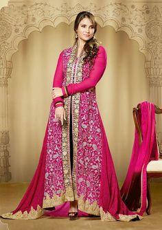 Pink & Black Floor Length Lara Dutta Semi-Stitched Suit