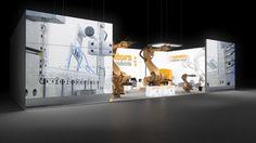 273 Industrieroboter l operators   | Aufwendiger Messestand für einen Hersteller von Industrierobotern.   Die hohen, beidseitig bedruckten Leuchtwände mit Maschinen Motiven bringen Indu...