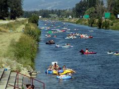 Float The Channel - Penticton, BC Voted #4 place to visit in the world. So much fun when I was little. Will do this with Nolan one day!