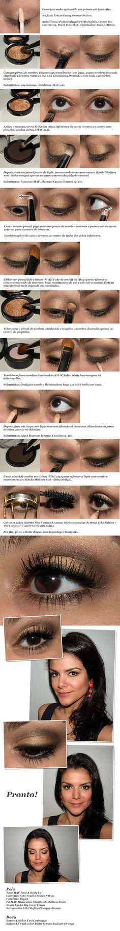 Gold and dark brown/espresso eyeshadow tutorial