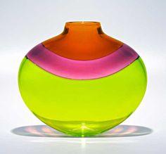 Flat Banded Vase: Lime: Michael Trimpol: Art Glass Vase - Artful Home