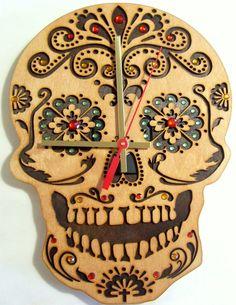 The Day of Dead handmade sugar skull wooden por joannakrzepkowska