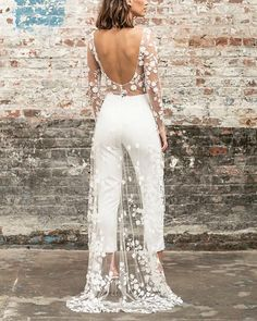 Perspective Lace Front Short Long Dress – cue-q Pantsuit Wedding Dress, Wedding Jumpsuit, Lace Wedding Dress, Designer Wedding Dresses, Bridal Dresses, Wedding Gowns, Lace Jumpsuit, White Jumpsuit, Short Long Dresses