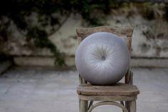 Silver grey velvet round pillow16 by fulyad on Etsy