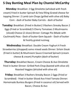 5 Day Banting Meal Plan - by Chantal McCarthy Green List Banting, Banting List, Flat Tummy Foods, 5 Day Meal Plan, Lamb Loin Chops, Battered Fish, Six Month, Spinach And Feta, Fresh Cream