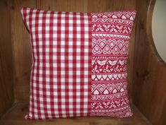 """Handmade Christmas Cushion Cover with Red Gingham and 'Joy' fabric from Emma Bridgewater. 16"""" with envelope enclosure at the back"""