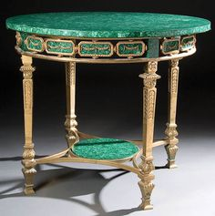 A FRENCH EMPIRE REVIVAL GILT BRONZE AND MALACHITE GUERIDON 20th century. The circular malachite top above an articulated malachite medallion and gilt bronze skirt raised on 4 legs. Diameter 36 inches, height 30 inches.