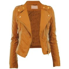 Diana New Womens Faux Leather Biker Gold or Metal Button Zip Crop... ($3.00) ❤ liked on Polyvore featuring outerwear, jackets, coats, tops and casacos