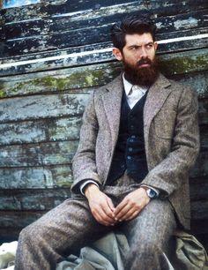 tweed suit, corduroy vest