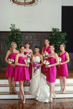 Oh la la! A hot pink bridal party - so gorgeous. Loving this summer wedding look! Register on Weddington Way to see these dresses and find 1000's more