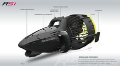 The Seascooter RS Series delivers the next generation underwater vehicle with a host of standard features for the most convenient and lightweight thrill-ride yet from Brownie's Dive Shops in south Florida.