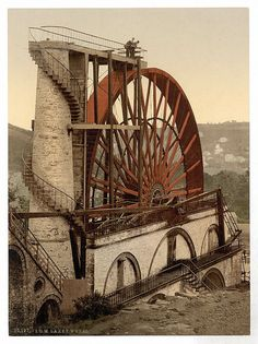 Original Pinner said: Over 150 years old, the Laxey Wheel, a.k.a Lady Isabella, is the largest working waterwheel in the world at 72 feet in diameter. As an American, I have seen many water-powered grist mills on the small wooded streams of the Appalachian Mountains and Piedmont. But these working-collar wheels seem crude compared to the beautifully engineered backshot Laxey Wheel on the Isle of Man.
