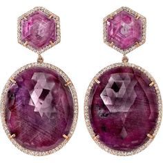 Irene Neuwirth Ruby, Sapphire & Diamond earrings.  One-of-a-kind drop earrings with sapphire, ruby, and 2.7 carats of diamonds