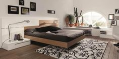 Dormitorio en madera y blanco Bed, Furniture, Home Decor, Black Bedrooms, House Decorations, Wood, Home, White People, Decoration Home