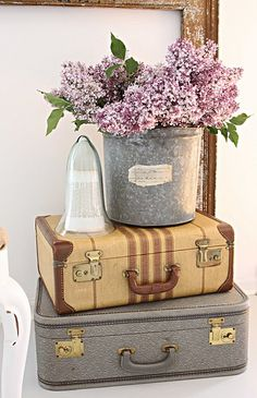 """Vintage suitcases...draped with lace to give the treats on the snack table some height. Also wanting to make a little sign pertaining to """"getting away"""" with God."""