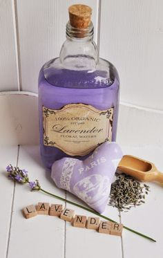 A Bottle of Lavender Water & Heart-shaped Lavender Sachet . by Helen Philipps . Lavender Cottage, French Lavender, Lavender Blue, Lavender Fields, Lavender Flowers, Lavender Colour, Lavender Decor, Lavender Crafts, Purple Lilac