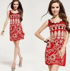Hot ! D6016 New 2014 Fashion Women Summer Dress Free Shipping Brand Casual Slim Totem Print Red Sexy Girl Dress Best Quality  $25.00