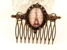 Nostalgic hair comb in bronze with beautiful eiffel tower motif | Jewelry-treasure-chest - Accessories on ArtFire