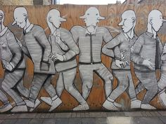 Street art characters on hoarding - Clapton, E5