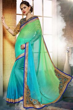 Buy Sky Blue Chiffon Designer Saree Online in low price at Variation. Huge collection of Designer Sarees for Wedding. #designer #designersarees #sarees #onlineshopping #latest #lowprice #variation. To see more - https://www.variationfashion.com/collections/designer-sarees