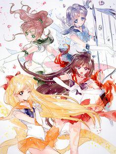 Ami Mizuno/Sailor Mercury Rei Hino/Sailor Mars Makoto Kino/Sailor Jupiter Minako Aino/Sailor Venus from Sailor Moon Anime. Sailor Moon Mars, Sailor Moon Fan Art, Sailor Moon Character, Sailor Chibi Moon, Sailor Jupiter, Sailor Moon Crystal, Sailor Venus, Manga Anime, Fanarts Anime