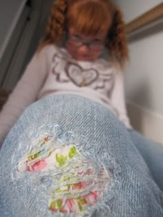 "Adorable way to MEND JEANS with cute fabric and embroidery floss! Kids will LOVE their ""new"" jeans! The Beating Hearth Blog"