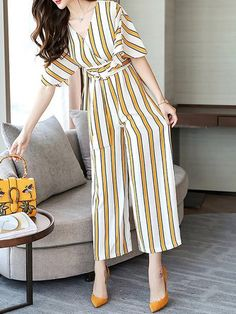 Going out Casual Yellow Striped Printed Jumpsuit Fashion Wear, Work Fashion, Hijab Fashion, Korean Fashion, Fashion Dresses, Girls Fashion Clothes, Clothes For Women, Stylish Dresses, Cool Outfits