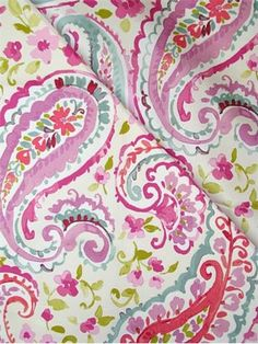 """Watercolors Orchid. P. Kaufmann Fabric, soft 100% cotton fine line twill, watercolor paisley fabric, soft and durable, perfect for drapery fabric, light use upholstery fabric, pillow fabric, or any home décor fabric project. Repeat; H 12.5"""" x V 25.25"""" . 54"""" wide."""